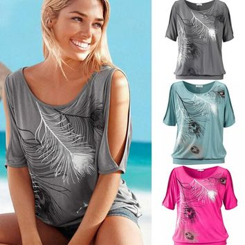 Summer Casual Tops 2017 Sexy Women Feather Print Short Sleeve Off Shoulder Round Neck Loose Blouse Feminino Shirt