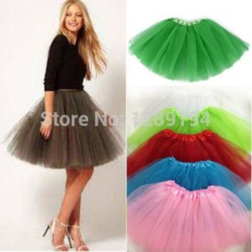 ONETOW Women Girl Pretty Elastic Stretchy Tulle Teen 3 Layer Adult Tutu Skirt Ball Gown Tutu Skirt