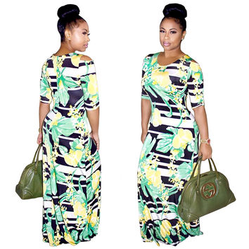 Fruit Print Maxi Dress with Half Sleeves