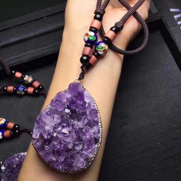 New Style Natural Purple Amethyst Beads Necklace