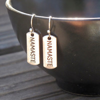 Namaste Earrings, Yoga Earrings, Silver Namaste,