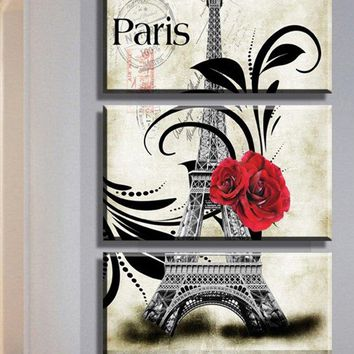 Eiffel Tower Rose Paris Print Wall Art Canvas Paintings