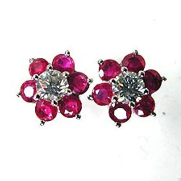 1.80ct Ruby and Diamond Earrings 18kt White JEWELFORME BLUE