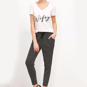 Pinstriped Harem Trousers