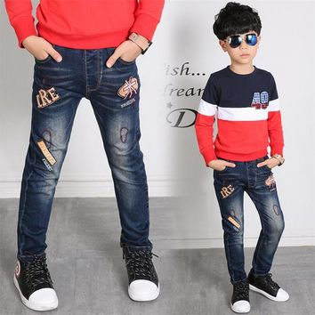 Children's jeans Spring trousers children baby pants Slim Personality Boys jeans Fit : 2 3 4 5 6 7 8 9 10 11 12 13 14 years old