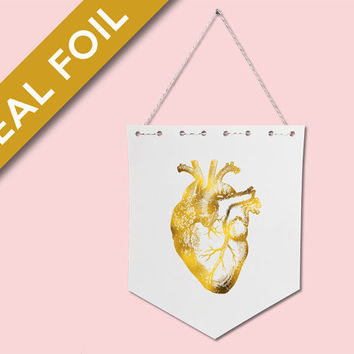 Human Heart Anatomical Real Gold Foil - Anatomy Wall Art - Medical Art - Anatomy Poster - Gold Foil Pennant - Hanging Wall Art - Wall Banner