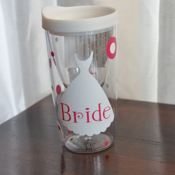 Wine Glass/ Bride/ Bachelorette/ Bridesmaids/ Wine Tumbler/ White/ Pink
