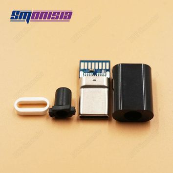 Smonisia 50pcs DIY Type C USB Male jack Plug Connector with PCB Board Plugs 4 in 1 Data Line Terminals for Phone