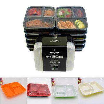 Newest 10 Pcs/set 3 Compartment Food Fruit Storage Containers with Lids Bento Box Lunch Box Picnic Food Storage Box Microwave an