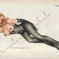Vintage January 1976 Alberto Vargas Pin-up Girl Sexy Nude Topless Wall Art Decor Cat Suit Bondage Leather Latex