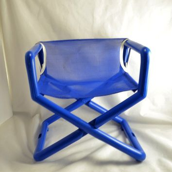Toddler Child's Taxi Chair Mid Century Hard To Find Blue Portable Seat Playroom Camping Nursery