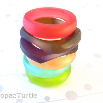 Red Stack Resin Ring Jewelry ,  Red Hot Matte Resin Stacking Ring Set Size 8 Australia Jewelry Gem Plastic