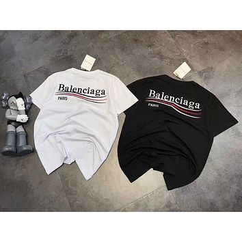 """""""Balenciaga"""" Stylish Trending Women Men Simple Letter Embroidery Short Sleeve Round Collar Cotton T-Shirt Pullover Top I-XMCP-YC"""