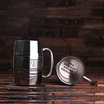 Personalized Stainless Steel Beer Mug – 14 oz. Monogram