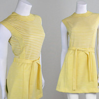 Vintage 60s Mod Dress A Line Dress Pastel Yellow Knit Dress Jersey Dress Mini Dress Lemon Yellow Mad Men Summer Dress Twiggy Style Shift