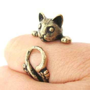 Creepy Kitty Cat Shaped Animal Wrap Around Ring in Brass | US Size 5 to Size 8.5