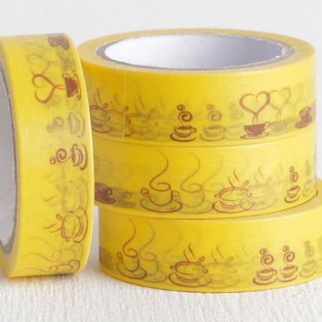 Yellow and Brown Tea Cup Washi Tape, Cappuccino Tea Lovers Gift Decorative Tape, Day Planner Sticker or Reminder Sticker 15mm