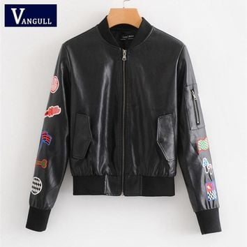 Vangull Women Slim Pu Faux Soft Leather Jacket 2018 New Embroidery Floral Print Black Motorcycle Bomber Leather Jacket Coat