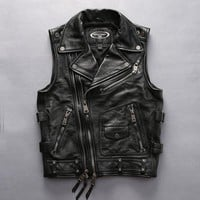 For cool Harley rider Mens cow leather vest turn-down collar zipper slim short genuine cowhide leather motorcycle rider vest