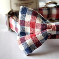 Tricolor Gingham Check Bow Tie Dog Collar