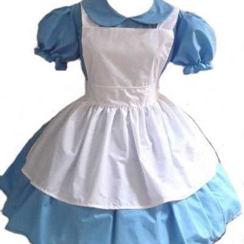 Alice in Wonderland Halloween Costume Gothic Lolita Dress and Apron Cosplay Costume Womens Large