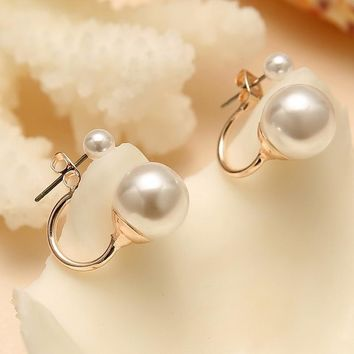 Fashionable Double Sided Pearl Earrings
