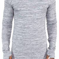 """Thumb Hole"" Long Sleeve Extended Shirt (Marble Grey)"