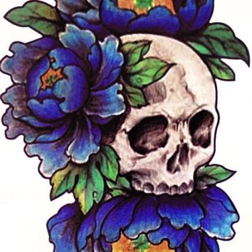 Skull Flower Temporary Tattoo