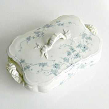 "Antique Covered Serving Dish, Turners Tunstall ""Spring"", Blue Flowers on White, Covered Serving Bowl. c.1879 - 1909."