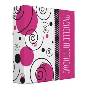 Pink Polka Dots and Swirls Name 2 Inch Binder from Zazzle.com