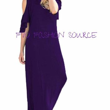 Cold Shoulder Long Maxi Dress,Sexy Round Neck - Pretty Flutter Sleeves