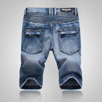 Denim Zippers Pants Shorts [10699374915]