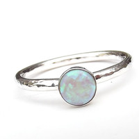 Sterling Silver White Rainbow Opal Stacking Ring