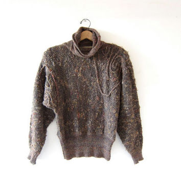 vintage fuzzy boucle sweater. Batwing turtleneck sweater. 80s textured purple pullover sweater.
