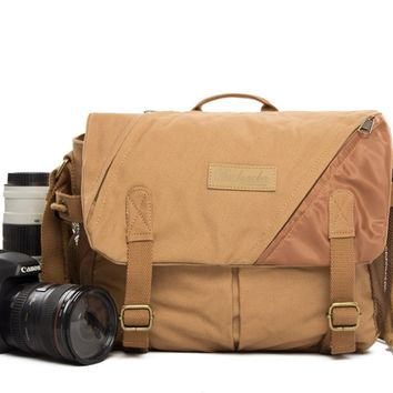 BLUESEBE UNISEX WAXED CANVAS MESSENGER DSLR CAMERA BAG BBK-6K