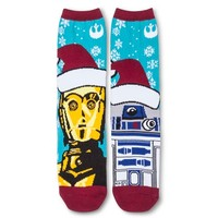 Women's Crew Sock Holiday Blue R2D2 & C3PO