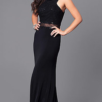 Formal Long Black Dress with Lace and Sequins