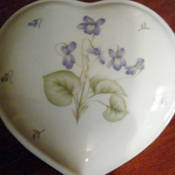 Vintage Mikasa Trinket Box //Tender Violets //English Bone China