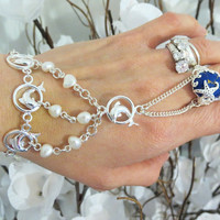 Nautical Dolphin Slave Bracelet Ring. 100% Sterling Silver Only. used Ring sz 7.5 Fresh Water Pearl, Sea star