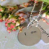 "Hand Stamped ""i am"" Necklace, I am Fearless, I am Strong, I am Courageous, I am Driven, I am Enough, I am Blessed, I am Beautiful"