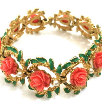 Coral Celluloid Flower Bracelet, Ten Carved Celluloid Flowers, Green Enamel Leaves, Faux Pearl Accents