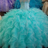 Quinceanera Dress Elegant Ball Gown Vestido De Sweet 16 Anos 2017 New Crystal Beaded Organza Formal Party Gowns Pageant Dresses
