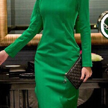 Green Slash Collar Long Sleeve Dress