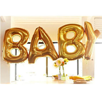 Huge 40 Inch Gold Foil Balloons BABY letter alphabet Wedding Party Decor USA