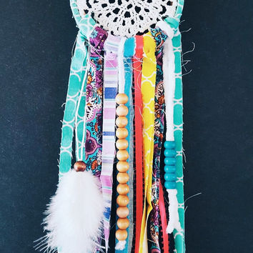 Small Dream Catcher - Boho Dream Catcher - Bohemian Decoration - Green Dream Catcher - Gypsy Dream Catcher - Doily Dream Catcher - Colorful