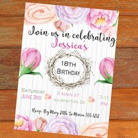 Printable floral birthday invitation - Any age birthday party invitation - Rustic birthday invitation - PRINTABLE - Invitation for woman