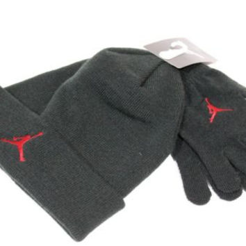 Jordan Kid's Beanie/Gloves Set Black/Red Jumpman size 8/20