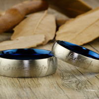 Handmade Blue Dome shape Custom Your words in Elvish, Lord of the Rings,  Matching Wedding Bands, Couple Rings Set, Titanium Rings Set, Anniversary Rings Set