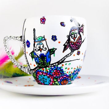 Teacup Hippie Owls hand painted Owls in LOVE by CraftUnikat