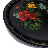 Beautiful Shabby Chic Black Hand Painted Vintage Metal Tray Round Russian Folk Art Rose Pattern Romantic Serving